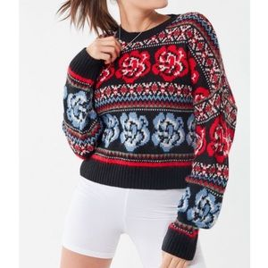 Urban Outfitters Dozen Roses Knit Holiday Sweater